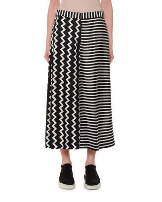 Stella McCartney Zigzag & Stripe Mixed-Print Wide-Leg Silk Culotte