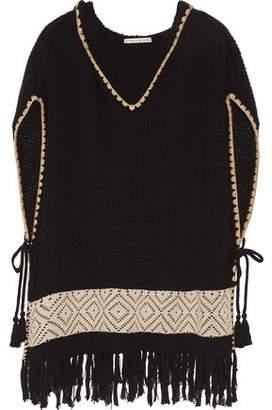 Alice + Olivia Brixton Fringed Waffle-Knit Cotton-Blend Hooded Poncho