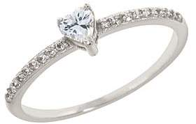 Cubic Zirconia & Silvertone Pave Heart-Cut Ring