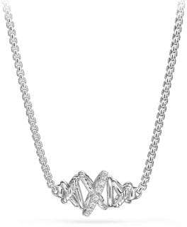 David Yurman Women's Crossover Single Station Necklace with Diamonds - Silver