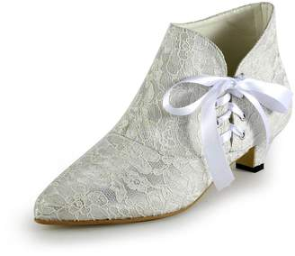 TDA TH12122 Womens Kitten Heel Lace Comfort Evening Parting Bridal Wedding Dress Lace-up Ankle Boots