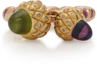 Sylvie Corbelin 18K Gold Peridot Amethyst and Diamond Ring
