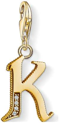 Thomas Sabo 18k Gold Plate Sterling Silver Cubic Zirconia Set Letter K Charm