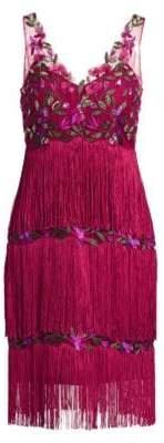 Marchesa Embroidered Mesh Fringe Shift Dress