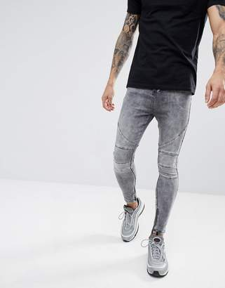 Religion Drop Crotch Jean With Biker Knee Detail And Zip Ankle
