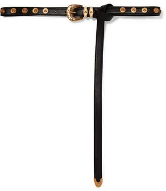 Versace Embellished Leather Belt - Black