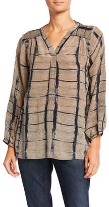 Tolani Plus Size Jamie Printed V-Neck Long-Sleeve Silk Tunic