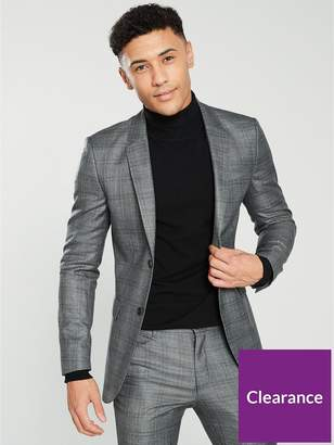 Slim Fit Check Suit Jacket - Grey