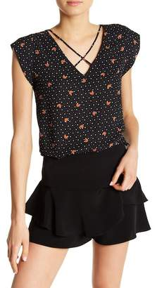 Sweet Rain Apparel Fox Crossed Strap Blouse