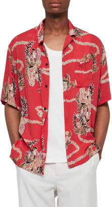 AllSaints Makalika Slim Fit Print Camp Shirt