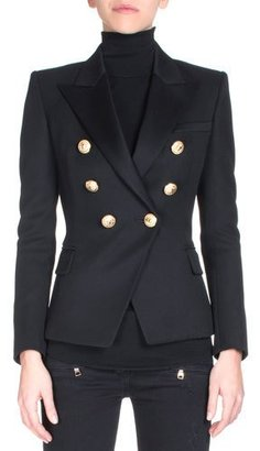 Balmain Classic Double-Breasted Blazer, Black $2,385 thestylecure.com