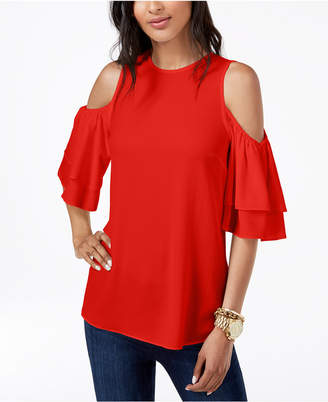 Michael Kors Cold-Shoulder Flounce Top, Regular & Petite, Created for Macy's