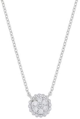 Bony Levy 18K White Gold Pave Diamond Scalloped Pendant Necklace - 0.08 ctw