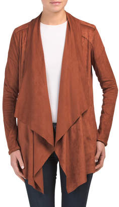 Long All Over Suede Drape Jacket