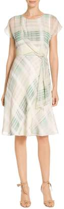 St. John Ombre Plaid Silk Georgette Dress
