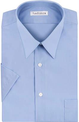 Van Heusen Easy-Care Poplin - Big & Tall Point Collar Short Sleeve Dress Shirt - Tall