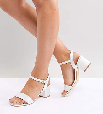 London Rebel Wide Fit Bridal Block Heeled Sandals