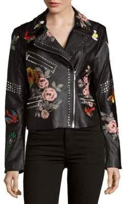 Bagatelle Studded Floral Moto Jacket