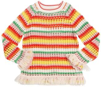Stella McCartney Striped Cotton Tricot Sweater W/ Fringe