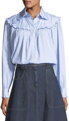 ALEXACHUNG Alexa Chung Frill-Trim Button-Front Oversized Denim Shirt