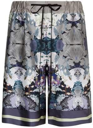 Meng MENG Printed Long Silk Satin Shorts...