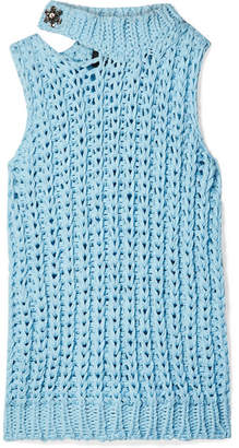 Calvin Klein Cutout Crystal-embellished Open-knit Top - Sky blue