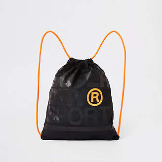 River Island Superdry black embroidery drawstring bag
