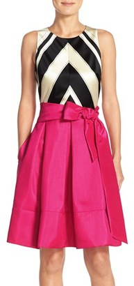 Women's Eliza J Faille & Taffeta Fit & Flare Dress $158 thestylecure.com
