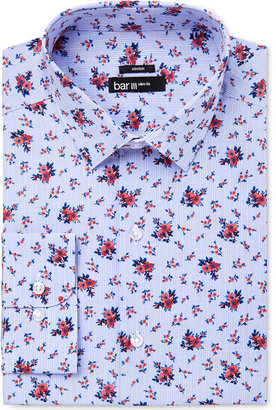 Bar III Men's Slim-Fit Stretch Easy Care Coral Blue Floral Glenplaid Dress Shirt, Only at Macy's $65 thestylecure.com