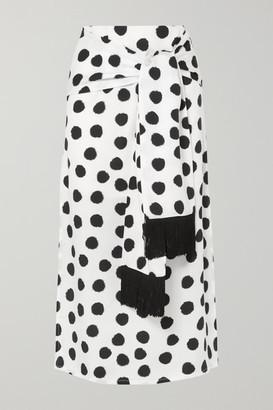 Mother of Pearl Net Sustain Kate Fringed Tie-front Polka-dot Lyocell Midi Skirt - White