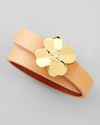 Tory Burch Shawn Floral-Logo Leather Wrap Bracelet, Nude