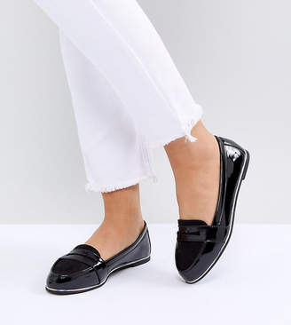 New Look Wide Fit Mix Material Patent Loafer