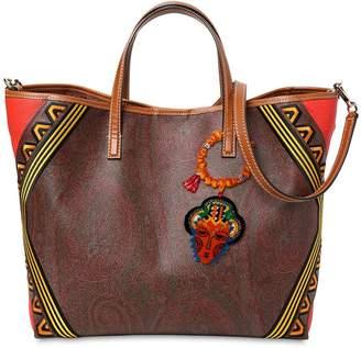 Etro Paisley Print Leather Tote Bag