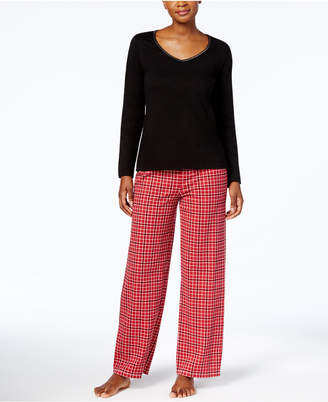 Charter Club Graphic Top & Printed Pants Pajama Set