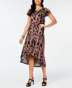 Thalia Sodi Printed Cutout-Waist High-Low Hem Dress, Created for Macy's