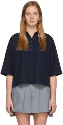 Thom Browne Navy Oversized Pique Polo