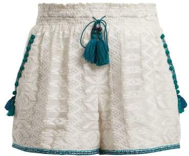 TALITHA Zigzag embroidered cotton and silk-blend shorts