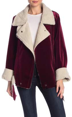 J.o.a. Faux Shearling Lined Velvet Jacket