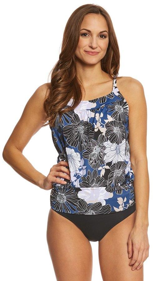 Shape Solver Chelsea Floral Yoke Blouson Tankini Top 8154227