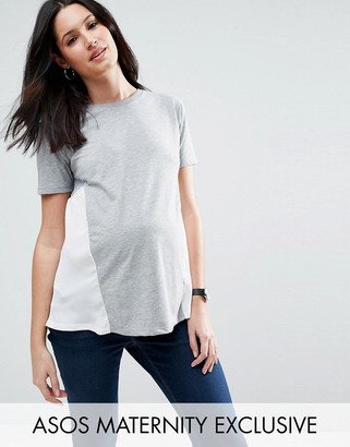 Asos Maternity Woven Side Panel T-Shirt