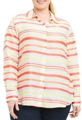 Foxcroft Plus Addison Stripe Button-Down Blouse