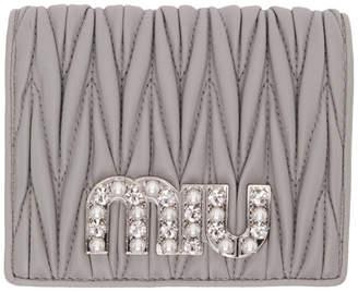 Miu Miu Grey Quilted Crystal Logo Wallet
