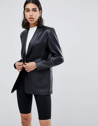 Asos DESIGN premium leather blazer