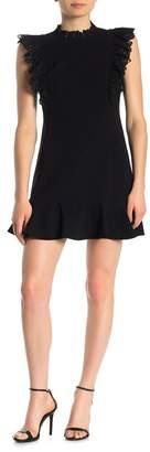 Rebecca Taylor Cap Sleeve Crepe Lace Trim Dress