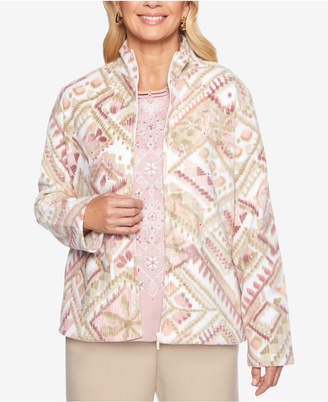 Alfred Dunner Petite Home for the Holidays Printed Fleece Jacket