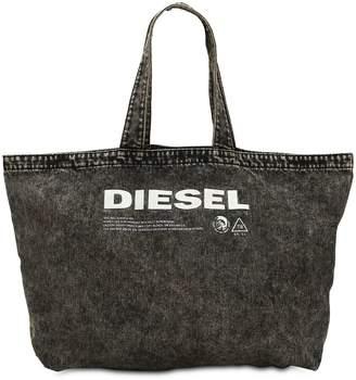 Diesel Logo Printed Washed Denim Tote Bag