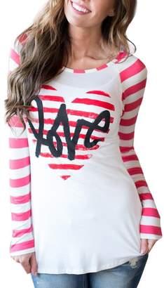DAY Birger et Mikkelsen XILALU Women Valentine's Gift Striped Heart Printed Long Sleeve T-Shirt Blouse (M, )