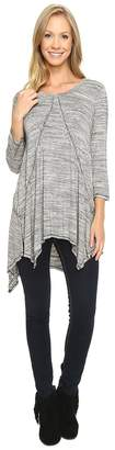 Mod-o-doc Space Dye Rayon Spandex Jersey Raw Edge Hanky Hem Tunic Women's Long Sleeve Pullover