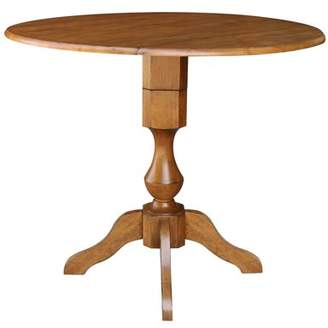 "INC International Concepts 42"" Round Dual Drop Leaf Pedestal Table 36.3""H - Pecan"