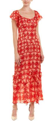 Anna Sui Chasing Hearts Silk-Blend Maxi Dress